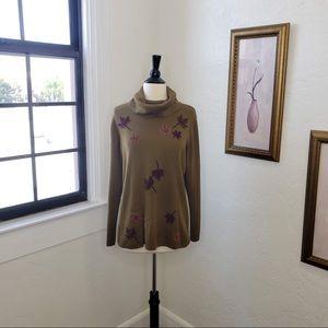 Nina Leonard ~ Green Leaf Turtleneck Sweater